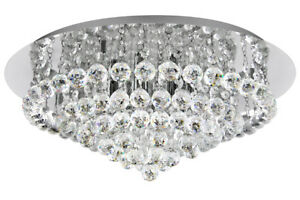 LED G9 Crystal Droplet Chandelier Round Classic Elegant Ceiling Light M0064