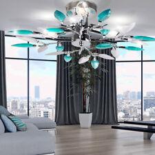Plafonnier luminaire plafond design feuilles fleurs turquoise chrome moderne