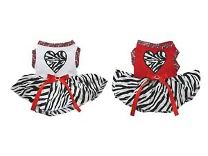 Valentine's Day Zebra Heart White Cotton Top Zebra Tutu Pet Dog Puppy Dress