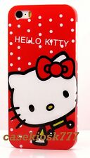 for iphone 5 5s cute kitten hello kitty red polka dot hard case +scren protector