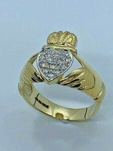 9ct Yellow Gold Mens Claddagh Cubic Zirconia Heavy Ring, Sizes T to Z   (248)