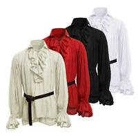 Mens Peasant Renaissance Pirate Shirt Medieval Lace Up Tops Cosplay Costume New