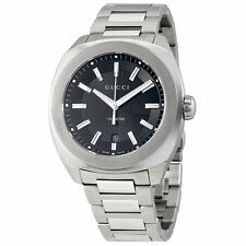 New Gucci GG2570 XL Black Sun Brushed Dial Stainless Steel Mens Watch YA142201