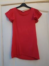 MISS E-VIE RED CONTRAST SHEER PLEATED FLOATY CAP SLEEVE SCOOPNECK T-SHIRT TOP 13