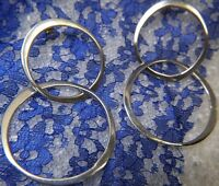 "Vintage 2 3/4"" Dangling Double Hoop Sterling Silver 0.925 Post Pierced Earrings"