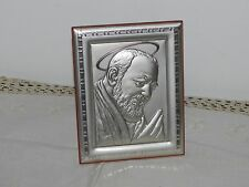 Quadro argento e legno Padre Pio 16,5 cm x 12,8 cm