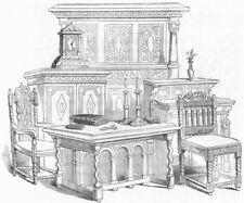 BUILDINGS. Sitting-room furniture  1845 old antique vintage print picture