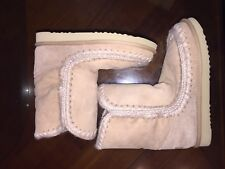 MOU SHEARLING Light Beige Low Boots!TRUE VINTAGE! Comfy & Stylish!!!BRAND NEW!!!