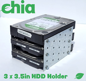 """3.5 Inch Hard Drive HDD (3) Bay Enclosure Rack Holder Chia Cage Case 3x 3.5"""" HDD"""