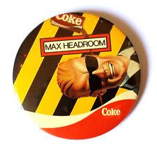 """1984 VTG Max Headroom Coke Coca Cola 3"""" Pin Button Coke A.I. Cyberpunk"""