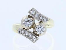 Vintage anillo 0,70 quilates brillante diamantes 585 oro platino alrededor de 1950