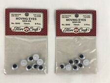 Sew-On Moving Eyes Fibre Craft 2 Packages 8 Pcs Each 10mm No. 8840 New