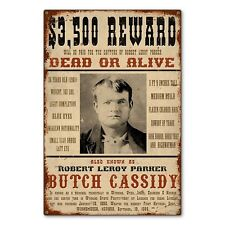 Butch Cassidy Wild West Wanted Reward Poster Metal Sign STEEL not tin 24x36