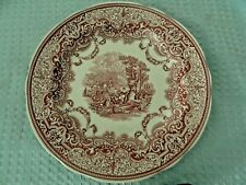 Spode Red/Cranberry Ware Dinner Plate Scene with a Lute