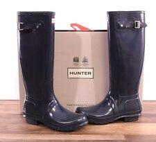 Hunter Women's Navy Gloss Rubber Rain Boots Original Tall Size 9 MED WFT1000RGL