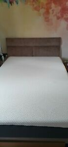 Small Double Bed (4ft) Wood Sprung Base, Emma Mattress & Dralon Head Board
