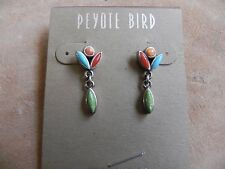 Peyote Bird~Turquoise, Carnelian, Spiny Oyster & Gaspeite Sterling Earrings