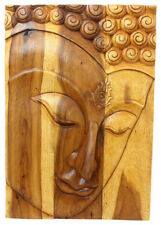 Eco Friendly Wooden Buddha Wall Panel 100% Handmade In Thailand 36 Inches Height