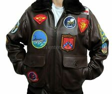 TOP Gun Tom Cruise uomini Fighter Jet Pilot nero pelliccia Cowhide LEATHER JACKET