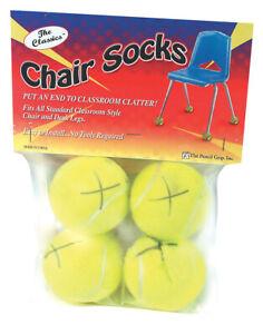 The Pencil Grip Inc Chair Socks Floor Protectors, Yellow, 36 Packs of 4