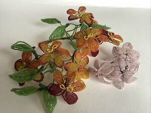 Estate Vintage French Glass Beaded Flowers Leaves Lot Of 13 Flowers