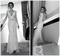 Vintage Lace Wedding Dress Bridal Gown Long Sleeve Custom Size 2 4 6 8 10 12 14+