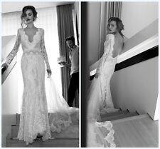 Long Sleeve Bridal Gown Vintage Lace Wedding Dress Custom Size 2 4 6 8 10 12 14+