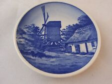 Royal Copenhagen Demark Fajance Blue Windmill Butter Pat Trinket Pin Dish Vtg