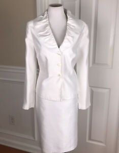 ISABELLA Women 2 PC Lined White Polyester Rayon Skirt Suit Size 14
