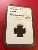 German Empire 1 Pfennig 1875-B NGC VF 20 BN
