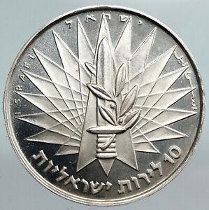 1967 ISRAEL IDF 6 Day War Wailing Wall OLD Jerusalem Silver 10 Lirot Coin i90363
