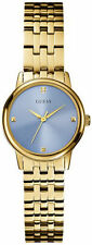 Guess Crystal Blue Dial Gold-Tone Metallic Alloy Quartz Womens Watch U0533L2
