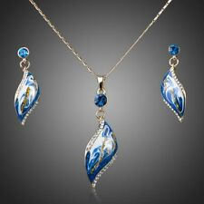 Blue Enamel Leaf 14K Gold Plated Chain Necklace Pendant Earrings Jewellery Set