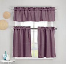 Benneton 3 Piece Faux Cotton Plum Purple Kitchen Window Curtain Panel Set