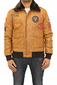 Mens Tan Nappa Leather Flight Bomber Jacket with Detachable Collar