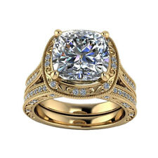 3 Ct Diamond Engagement Ring Sets 14kt Yellow Gold Rings Cushion Size K M N O P