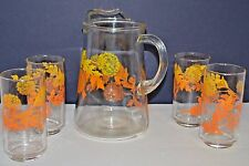 VINTAGE LIBBEY PITCHER & GLASSES SET AUTUMN LEAVES  FALL ORANGE & YELLOW RETRO