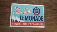 OLD AUSTRALIAN SOFT DRINK CORDIAL LABEL 1950s McALPINE ALBURY BLUE SEAL LEMONADE