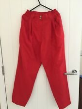 100% Pure Soie Femmes Rouge trauser Taille 10-12 NEUF