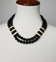 Napier necklace double strand black beads with white enamel bars 1980s