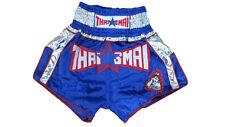 Thaismai Satin Thai Boxing short Blue/Silver-Size M