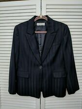 Tahari Navy Blazer Women's 14P Sateen Stripes