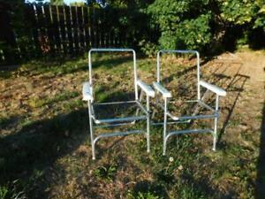 Vintage Folding Aluminum Lawn Chair s x 2 NOS No Webbing