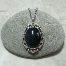 Blue Sandstone Cameo Necklace Jewelry Antique Silver