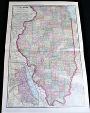 STATE OF ILLINOIS ATLAS MAP PAGE PLATE 1908 VINTAGE GEORGE F. CRAM
