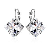 Bride Wedding Princess Cut White Topaz Gemstone CZ Silver Dangle Earrings Gifts