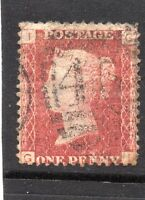 Queen Victoria One Penny red stamp. SG43 Plate 110. Letters G I