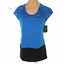 NIKE Women's X-SMALL Cap Sleeves RUNNING Crop BLUE TOP Mesh Trim SWOOSH Dri-Fit
