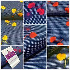 Navy Floral Spot Dot Printed Cotton Poplin Fabric 110 cm MK1260 Mtex