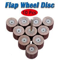 10PCS 80-600 Grit Flap Sanding Wheel Head Grinding Disc & Arbor for Rotary Tool